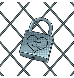 padlock with heart pop art vector image