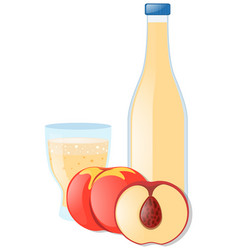peach and juice in glass vector image