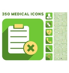 Reject Form Icon and Medical Longshadow Icon Set vector image