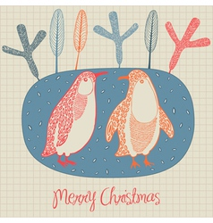 Retro Christmas Penguins Card vector image