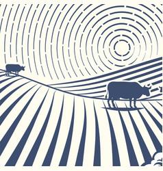 retro landscapes farm house vector image