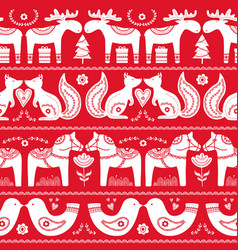 scandinavian seamless folk art hand drawn pattern vector image
