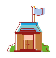 School education with roof and doors design vector
