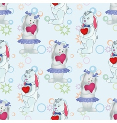 Seamless pattern Bunnies with Valentine hearts vector