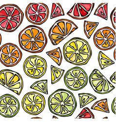 seamless pattern of citrus lemon orange lime vector image