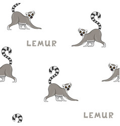 seamless pattern with cartoon lemurs vector image