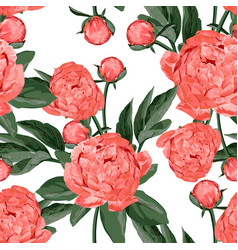 seamless pattern with coral orange peonies vector image