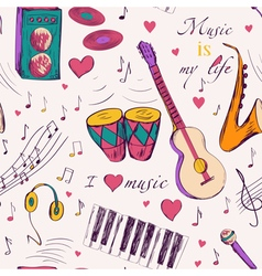 seamless pattern with music instruments vector image
