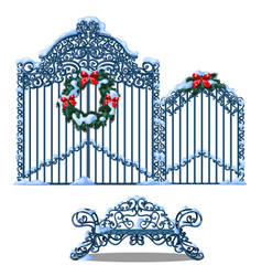 set forged metal elements fence and gate vector image