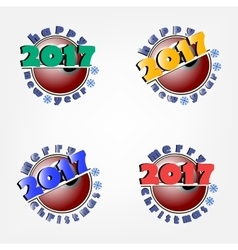 Set of billiard ball and New Year 2017 vector