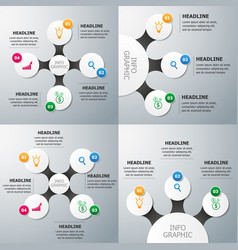 set of circle infographics template vector image