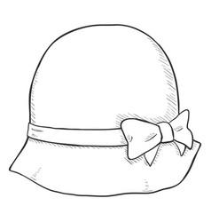 single sketch elegance women hat vector image