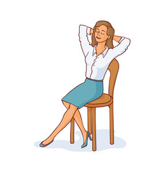 Sketch woman sitting at chair resting vector