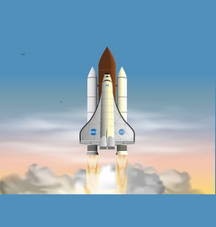 space shuttle flat design isolated on white vector image