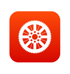 sprocket from bike icon digital red vector image