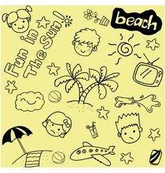 Summer beach doodle art vector image