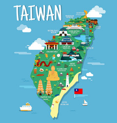Taiwan map with colorful landmarks design vector