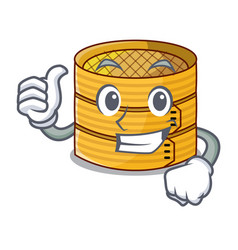 Thumbs up cartoon traditional bamboo for steamed vector