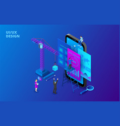 Ui design concept with smartphone crane and vector