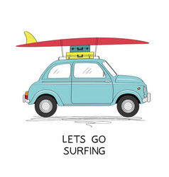 vintage car with surfboard vector image