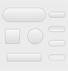 White buttons blank set of matted interface icons vector