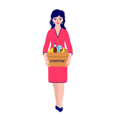 woman with donation food box vector image