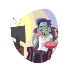 Zombie Watching TV Flat vector image