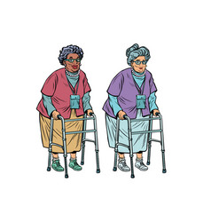 african and caucasian old ladies with walker vector image vector image