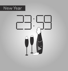 Black and white style icon of champagne christmas vector