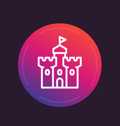 Castle medieval fortress line icon vector