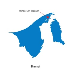 Detailed map of Brunei and capital city Bandar vector image vector image