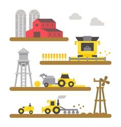 Farm land machineries flat design vector image