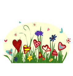 field of blooming hearts on yellow background vector image vector image