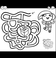maze with girl and gift coloring page vector image