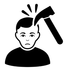Murder with hammer flat icon vector