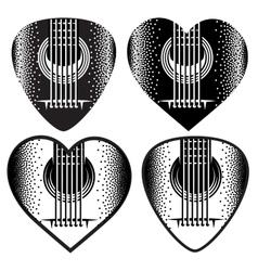 set of stylish monochrome plektrum for vector image vector image