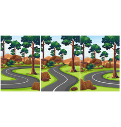 three scenes of park with empty roads vector image vector image
