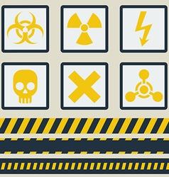 Warning signs symbols set Seamless tape vector image