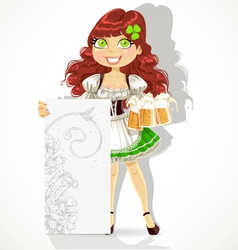 Cute girl with glasses of beer and blank banner vector image