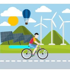 Renewable energy concept Solar and wind energy vector image vector image