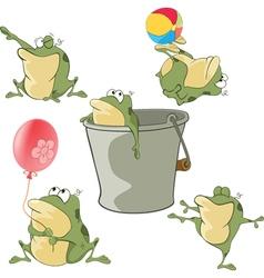 Set of Cartoon Cute Green Frogs vector image