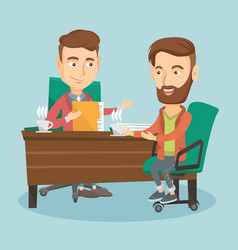 two business men during business meeting vector image