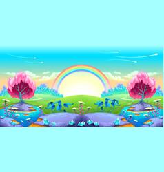 Landscape of dreams with rainbow vector