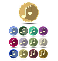 music icon set note symbol in flat design with vector image vector image