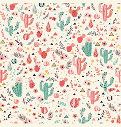 pink and green cacti vector image vector image