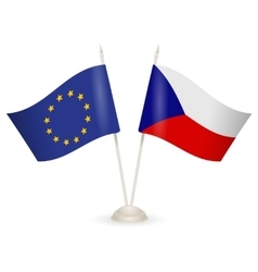 Table stand with flags of Czech Republic and US vector image
