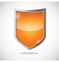 Blank orange gold shield in metallic frame vector image vector image