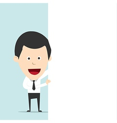Businessman hold blank board for use in vector image