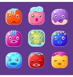 Funny Colorful Square Faces Set Emotional Cartoon vector image