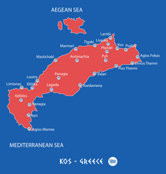island of kos in greece red map vector image